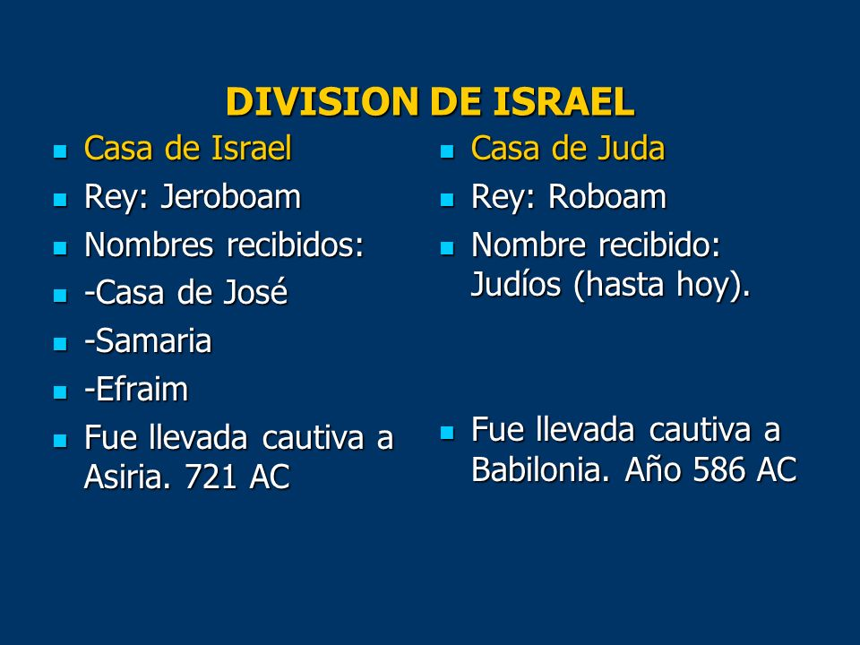 DIVISION DE ISRAEL Casa de Israel Rey: Jeroboam Nombres recibidos: