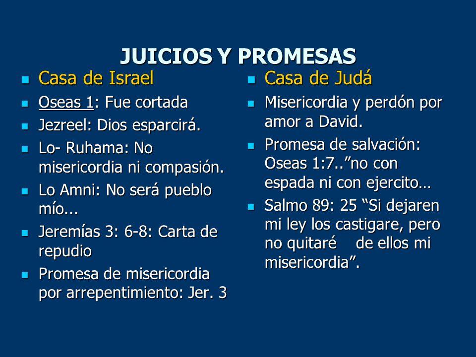 JUICIOS Y PROMESAS Casa de Israel Casa de Judá Oseas 1: Fue cortada
