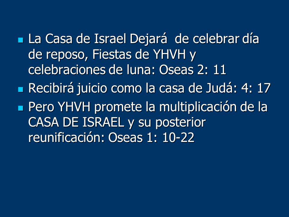 La Casa de Israel Dejará de celebrar día de reposo, Fiestas de YHVH y celebraciones de luna: Oseas 2: 11