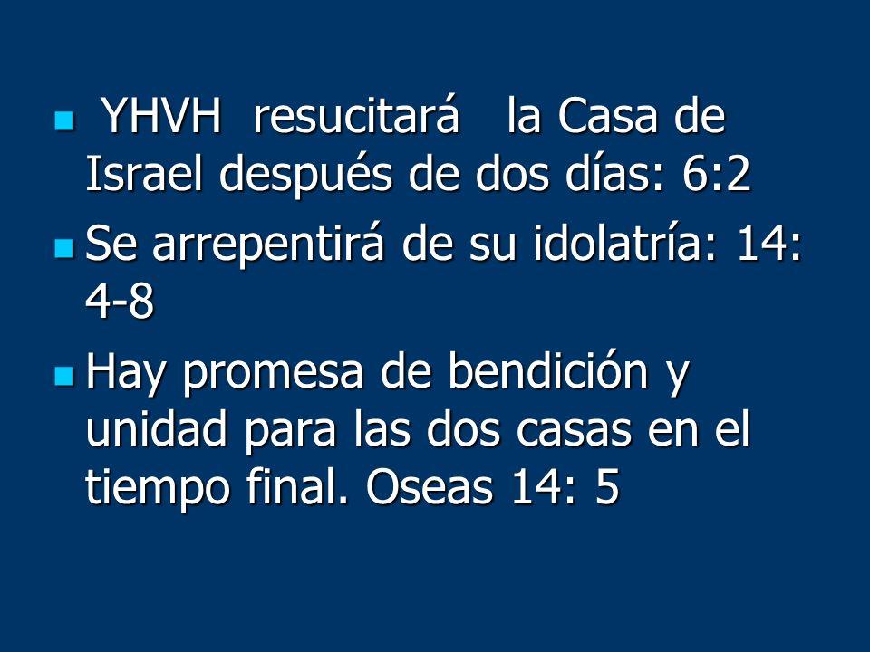 YHVH resucitará la Casa de Israel después de dos días: 6:2