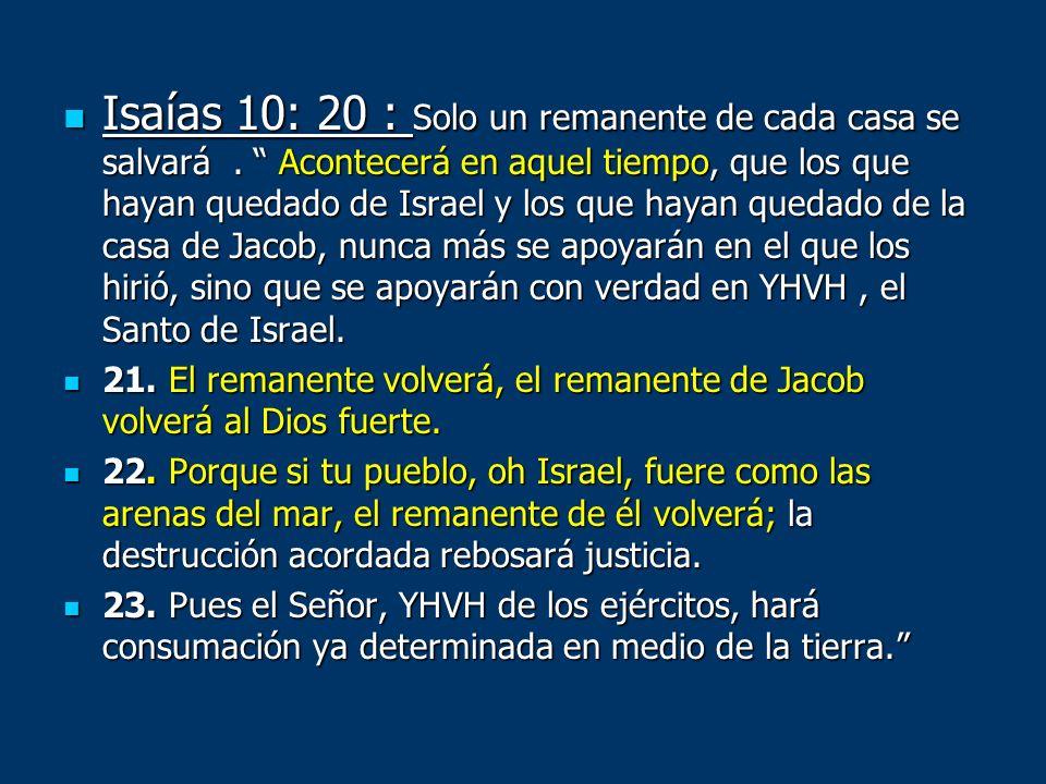 Isaías 10: 20 : Solo un remanente de cada casa se salvará