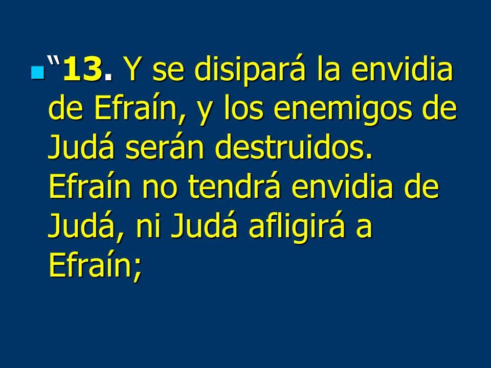 13. Y se disipará la envidia de Efraín, y los enemigos de Judá serán destruidos.