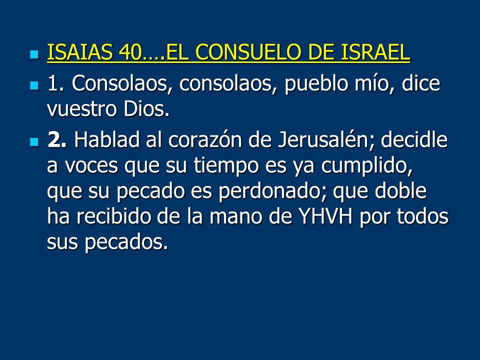ISAIAS 40….EL CONSUELO DE ISRAEL