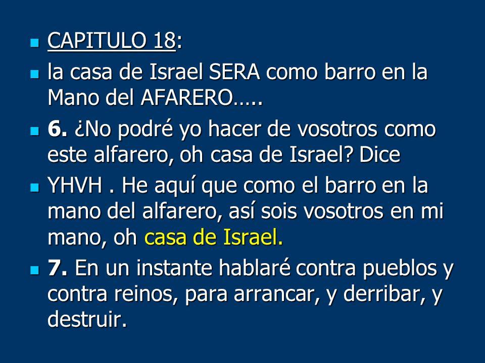 CAPITULO 18:la casa de Israel SERA como barro en la Mano del AFARERO…..