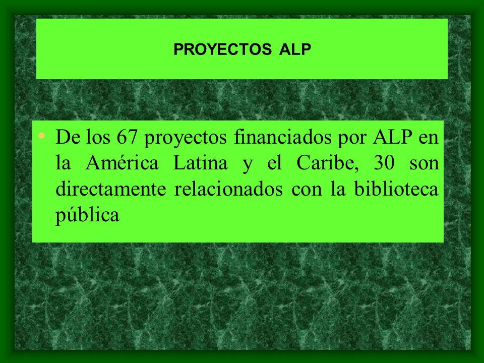 PROYECTOS ALP De los 67 proyectos financiados por ALP en la América Latina y el Caribe, 30 son directamente relacionados con la biblioteca pública.