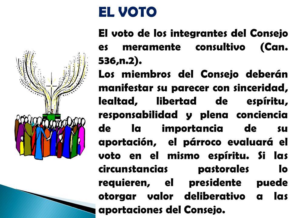 EL VOTO El voto de los integrantes del Consejo es meramente consultivo (Can. 536,n.2).