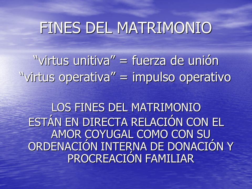 FINES DEL MATRIMONIO virtus unitiva = fuerza de unión