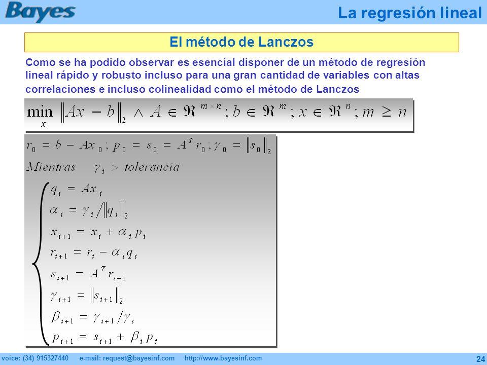 La regresión lineal El método de Lanczos