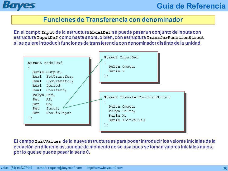 Funciones de Transferencia con denominador