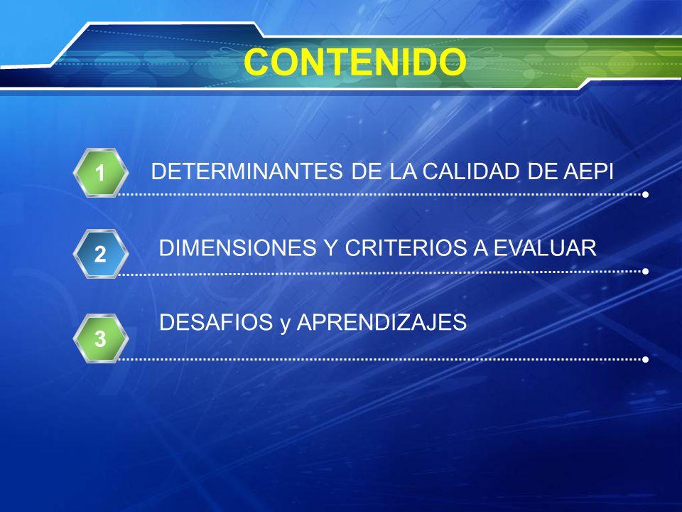 CONTENIDO 1 DETERMINANTES DE LA CALIDAD DE AEPI