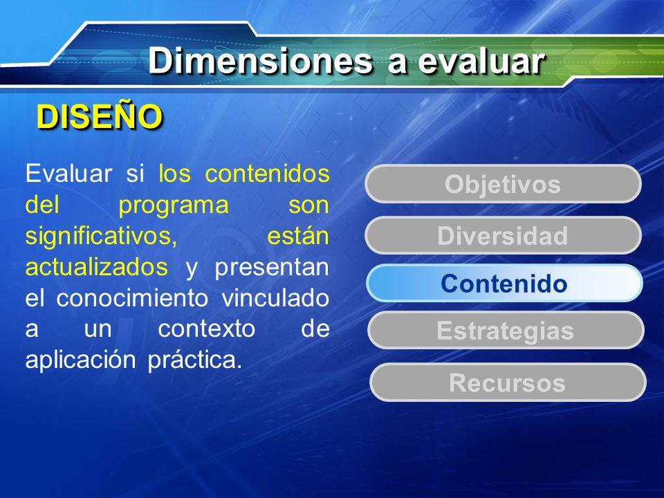 Dimensiones a evaluar DISEÑO