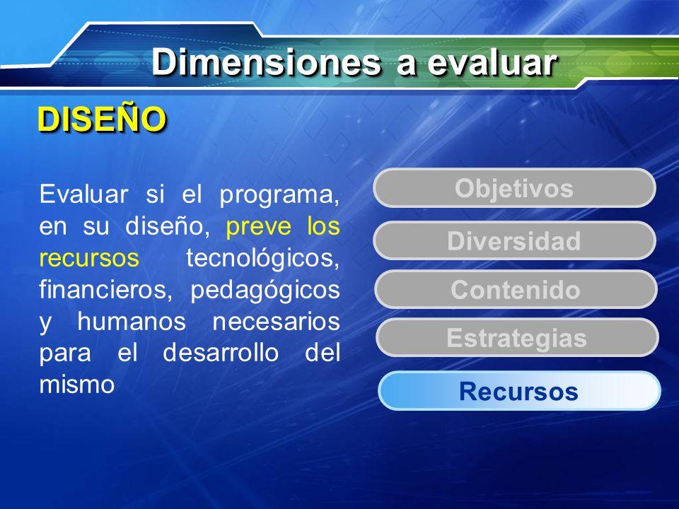 Dimensiones a evaluar DISEÑO Objetivos