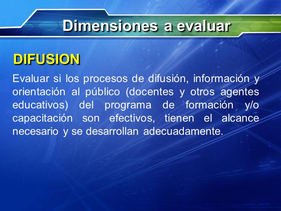 Dimensiones a evaluar DIFUSION