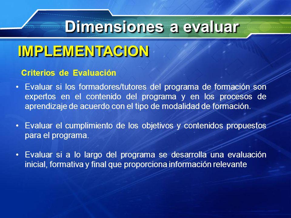 Dimensiones a evaluar IMPLEMENTACION