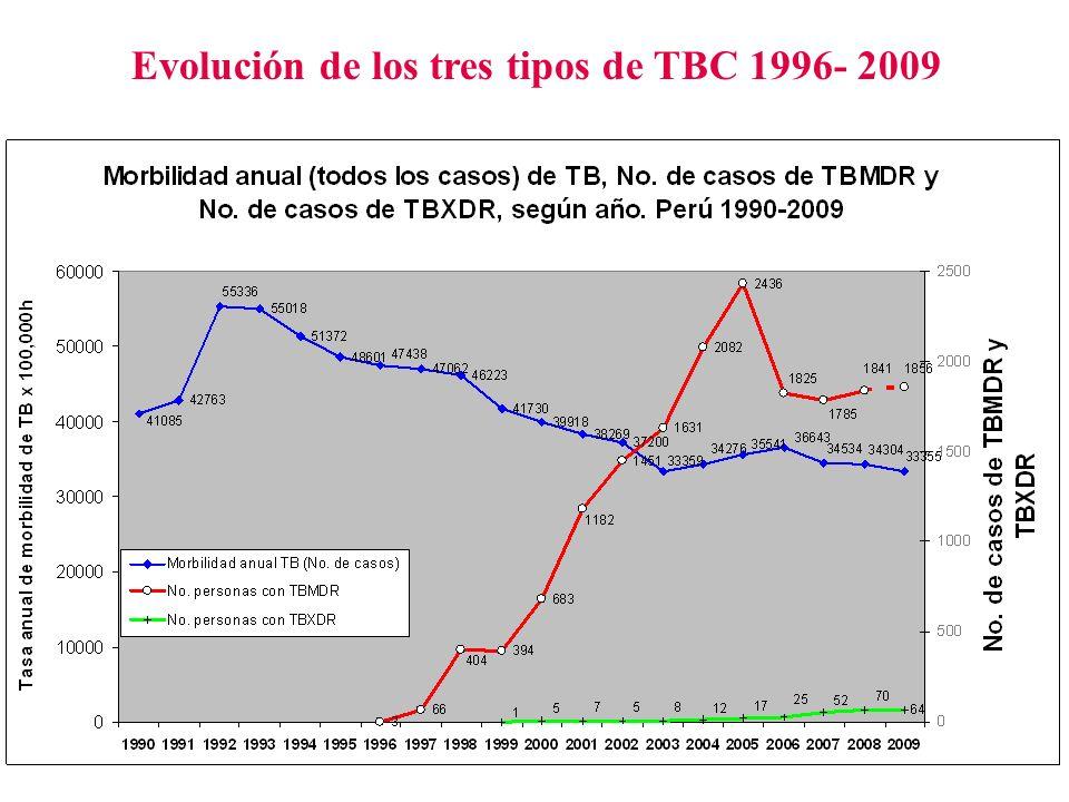 Evolución de los tres tipos de TBC 1996- 2009