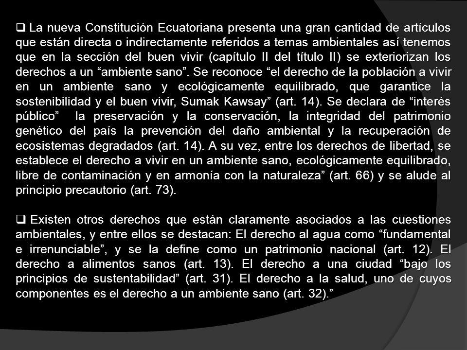 La nueva Constitución Ecuatoriana presenta una gran cantidad de artículos que están directa o indirectamente referidos a temas ambientales así tenemos que en la sección del buen vivir (capítulo II del título II) se exteriorizan los derechos a un ambiente sano . Se reconoce el derecho de la población a vivir en un ambiente sano y ecológicamente equilibrado, que garantice la sostenibilidad y el buen vivir, Sumak Kawsay (art. 14). Se declara de interés público la preservación y la conservación, la integridad del patrimonio genético del país la prevención del daño ambiental y la recuperación de ecosistemas degradados (art. 14). A su vez, entre los derechos de libertad, se establece el derecho a vivir en un ambiente sano, ecológicamente equilibrado, libre de contaminación y en armonía con la naturaleza (art. 66) y se alude al principio precautorio (art. 73).