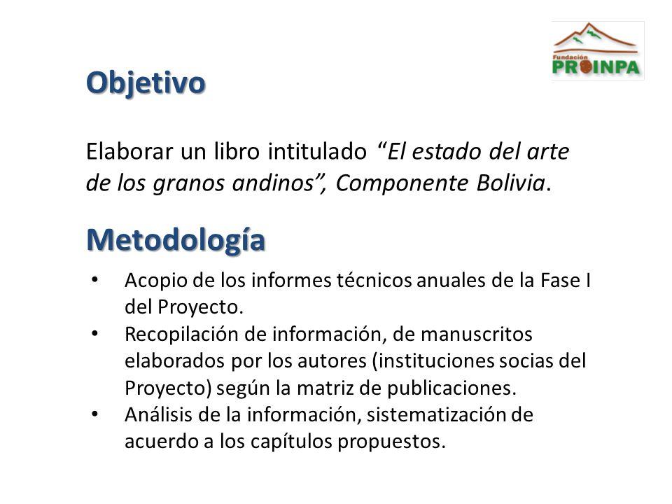 Objetivo Elaborar un libro intitulado El estado del arte de los granos andinos , Componente Bolivia.