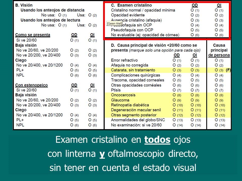 Examen cristalino en todos ojos con linterna y oftalmoscopio directo,