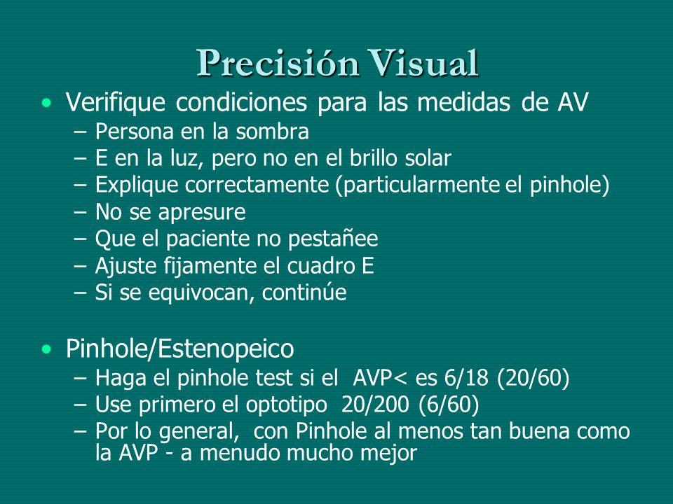 Precisión Visual Verifique condiciones para las medidas de AV