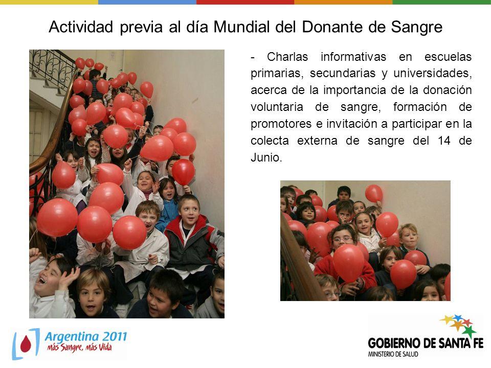 Actividad previa al día Mundial del Donante de Sangre