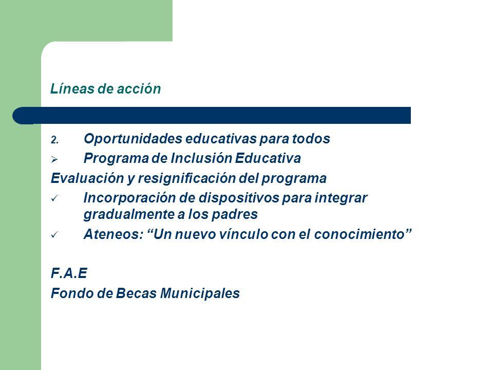 Líneas de acción Oportunidades educativas para todos. Programa de Inclusión Educativa. Evaluación y resignificación del programa.