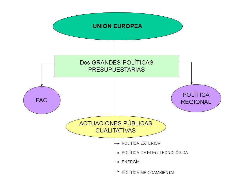 UNIÓN EUROPEA Dos GRANDES POLÍTICAS PRESUPUESTARIAS POLÍTICA REGIONAL