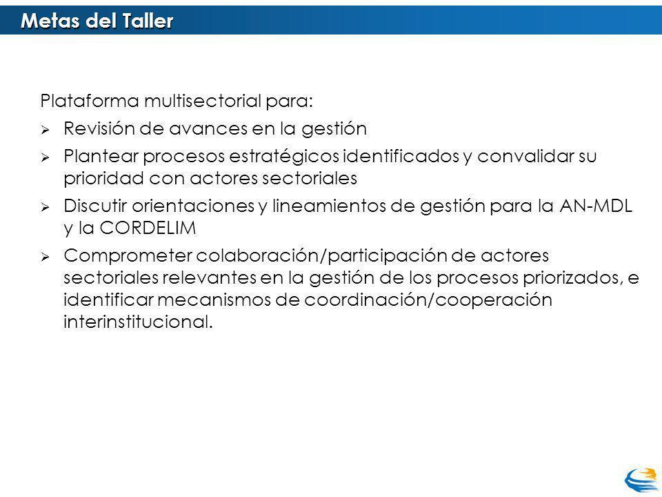 Metas del Taller Plataforma multisectorial para:
