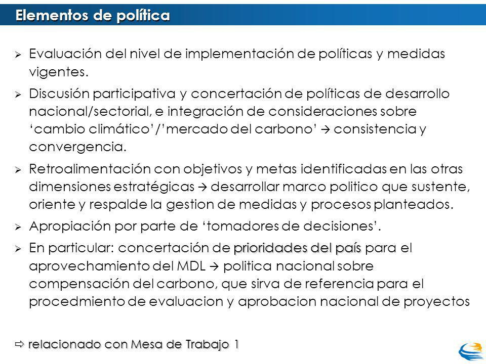Elementos de política Evaluación del nivel de implementación de políticas y medidas vigentes.