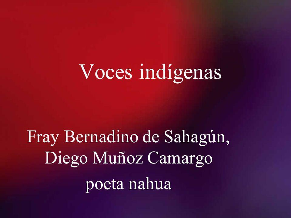 Fray Bernadino de Sahagún, Diego Muñoz Camargo poeta nahua