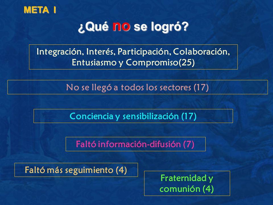 META I ¿Qué no se logró Integración, Interés, Participación, Colaboración, Entusiasmo y Compromiso(25)