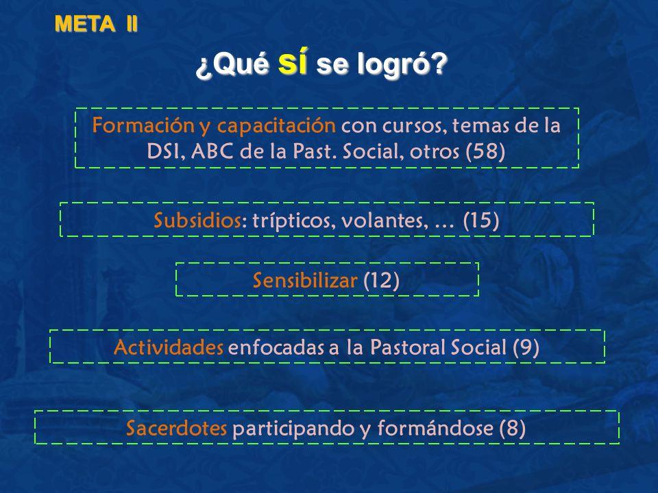 META II ¿Qué sí se logró Formación y capacitación con cursos, temas de la DSI, ABC de la Past. Social, otros (58)