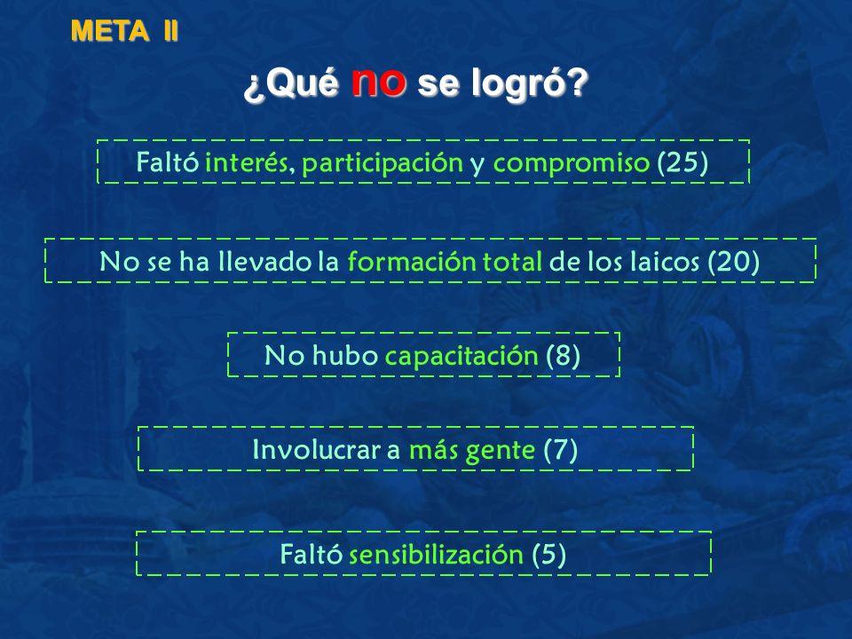 META II ¿Qué no se logró Faltó interés, participación y compromiso (25) No se ha llevado la formación total de los laicos (20)