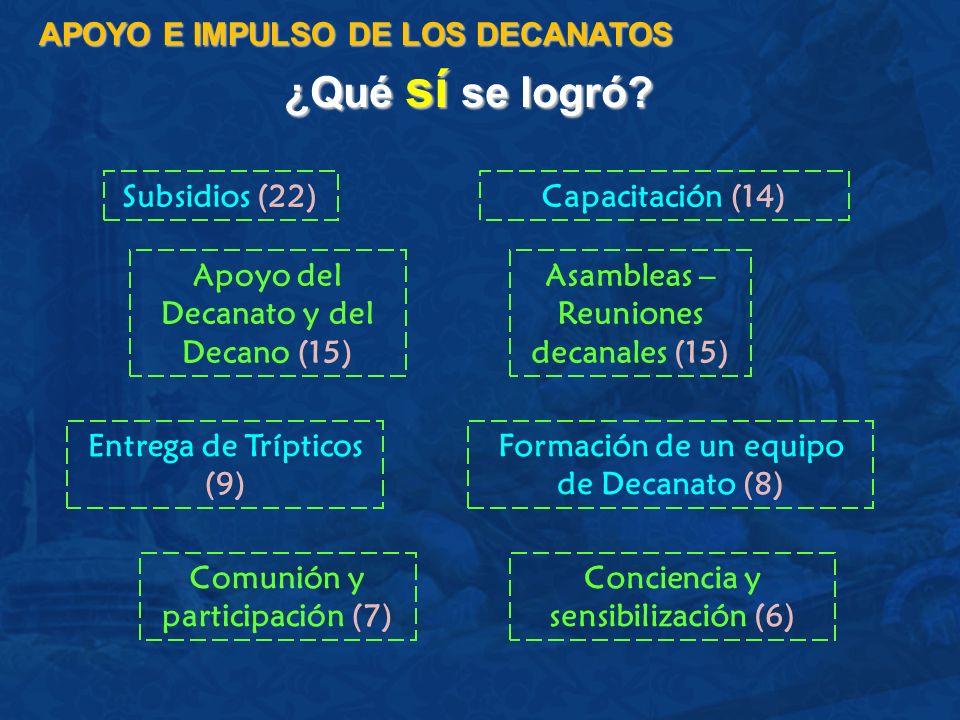 ¿Qué sí se logró APOYO E IMPULSO DE LOS DECANATOS Subsidios (22)