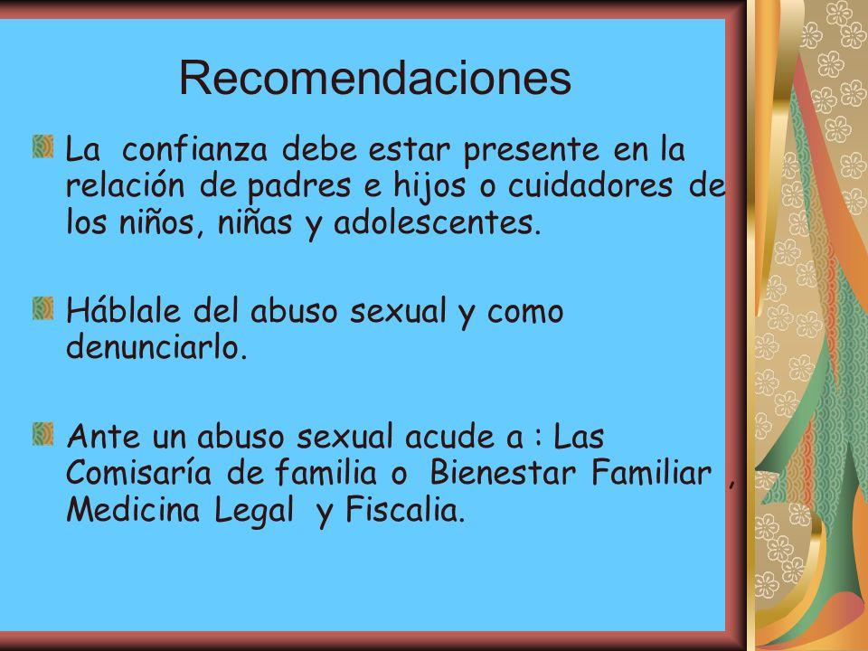 Recomendaciones La confianza debe estar presente en la relación de padres e hijos o cuidadores de los niños, niñas y adolescentes.
