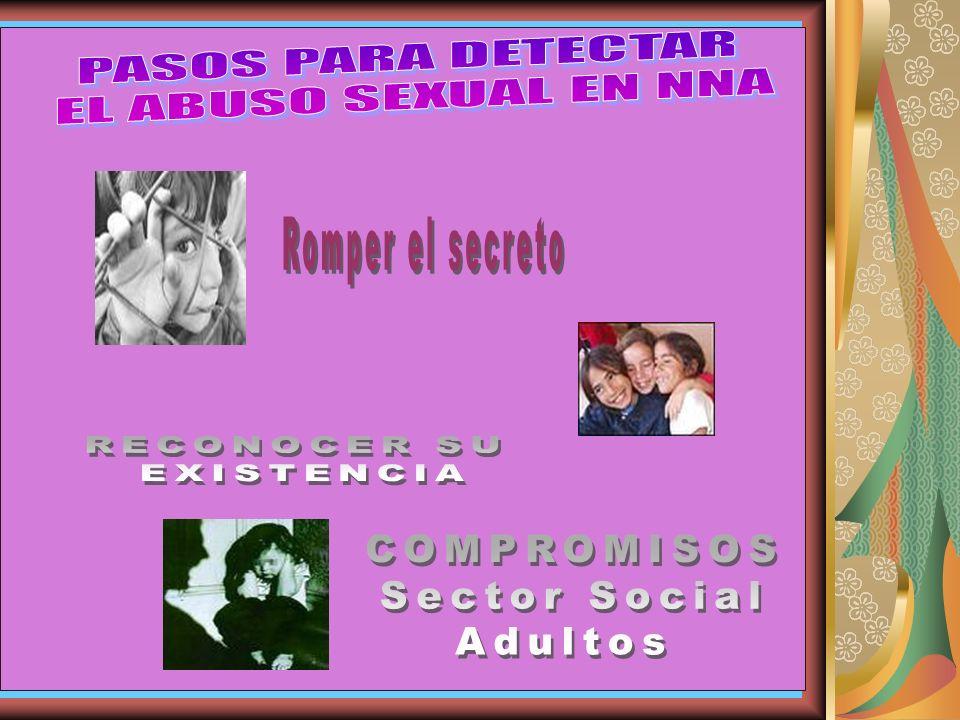 PASOS PARA DETECTAR EL ABUSO SEXUAL EN NNA. Romper el secreto. RECONOCER SU. EXISTENCIA. COMPROMISOS.