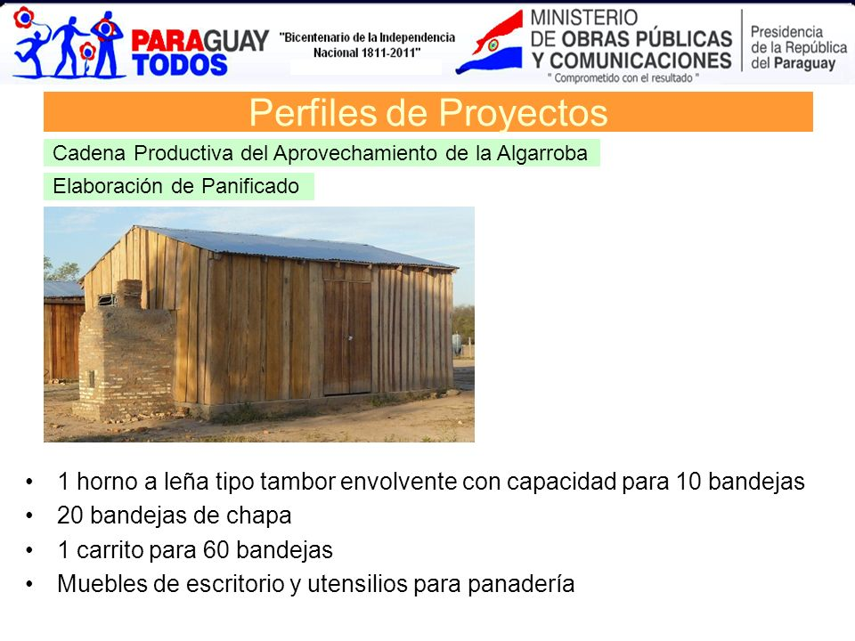 Perfiles de ProyectosCadena Productiva del Aprovechamiento de la Algarroba. Elaboración de Panificado.