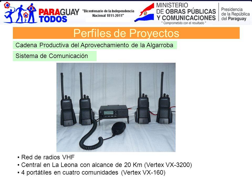 Perfiles de Proyectos Cadena Productiva del Aprovechamiento de la Algarroba. Sistema de Comunicación.