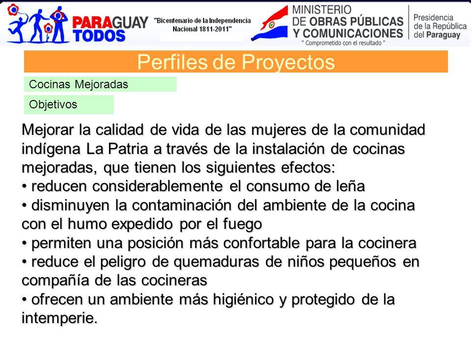 Perfiles de ProyectosCocinas Mejoradas. Objetivos.