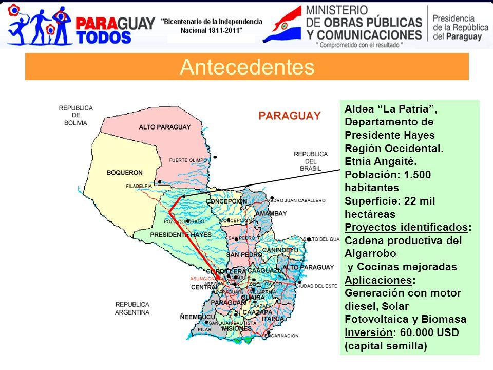 AntecedentesAldea La Patria , Departamento de Presidente Hayes Región Occidental. Etnia Angaité. Población: 1.500 habitantes.