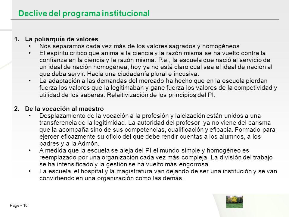 Declive del programa institucional