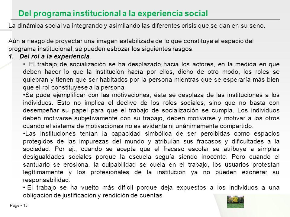 Del programa institucional a la experiencia social