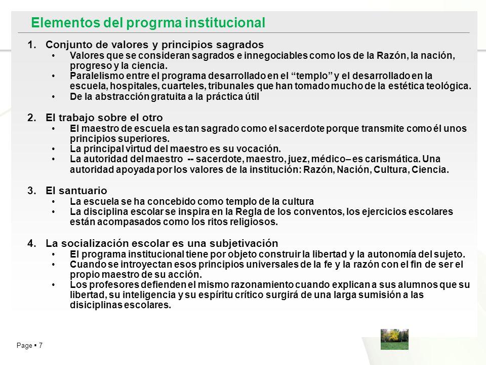 Elementos del progrma institucional