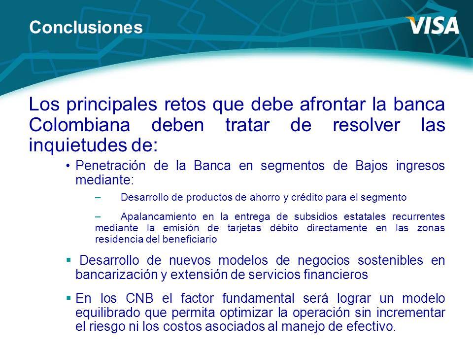ConclusionesLos principales retos que debe afrontar la banca Colombiana deben tratar de resolver las inquietudes de: