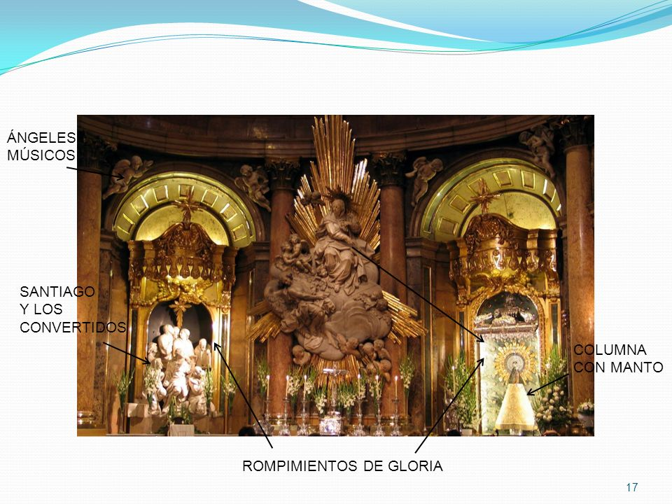 ÁNGELES MÚSICOS SANTIAGO Y LOS CONVERTIDOS COLUMNA CON MANTO ROMPIMIENTOS DE GLORIA