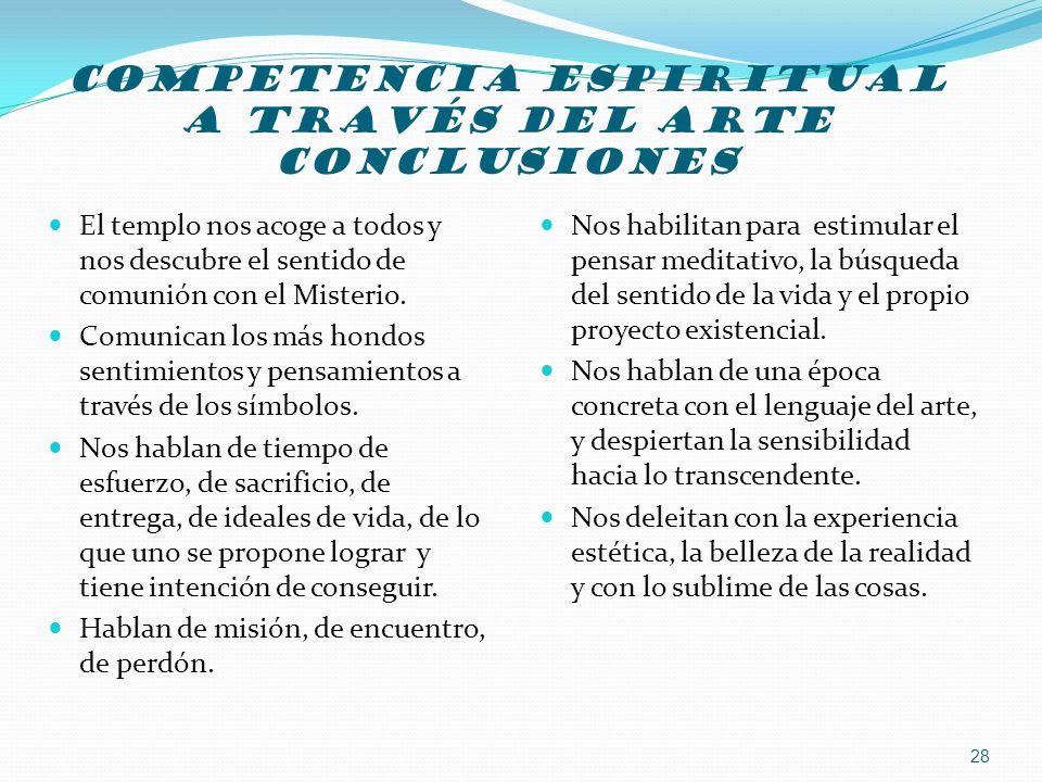COMPETENCIA ESPIRITUAL A TRAVÉS Del arte CONCLUSIONES