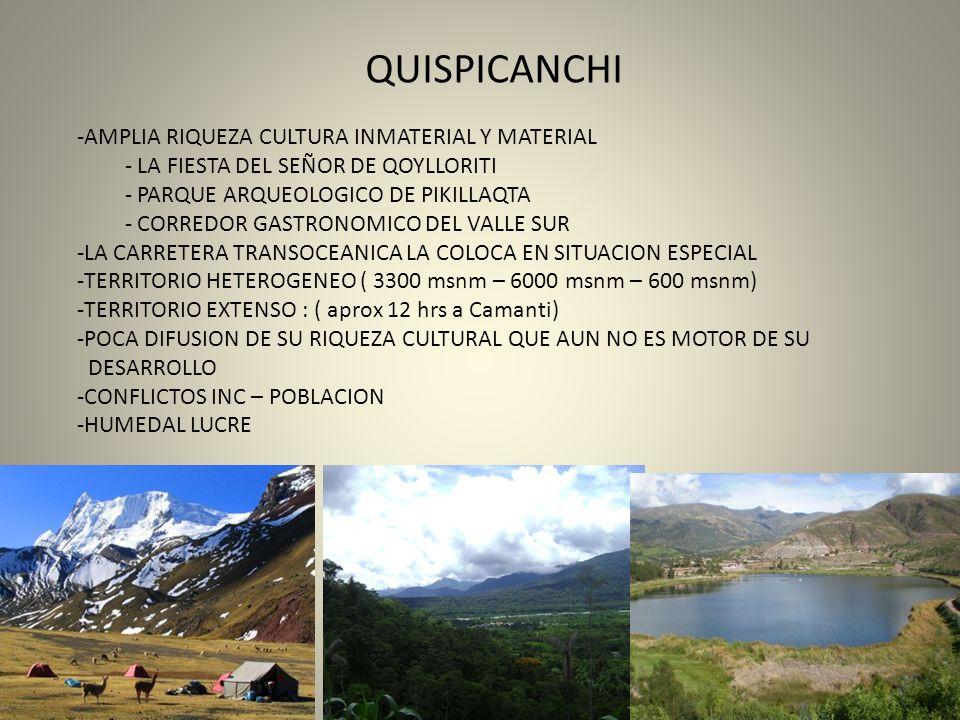 QUISPICANCHIAMPLIA RIQUEZA CULTURA INMATERIAL Y MATERIAL. LA FIESTA DEL SEÑOR DE QOYLLORITI. PARQUE ARQUEOLOGICO DE PIKILLAQTA.