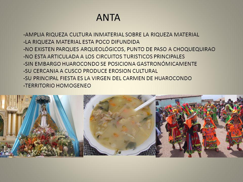 ANTA AMPLIA RIQUEZA CULTURA INMATERIAL SOBRE LA RIQUEZA MATERIAL. LA RIQUEZA MATERIAL ESTA POCO DIFUNDIDA.