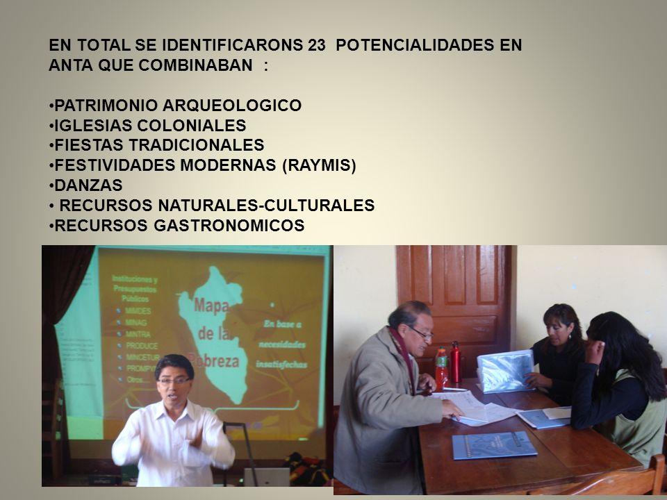 EN TOTAL SE IDENTIFICARONS 23 POTENCIALIDADES EN