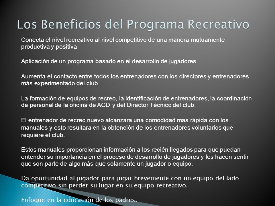 Los Beneficios del Programa Recreativo