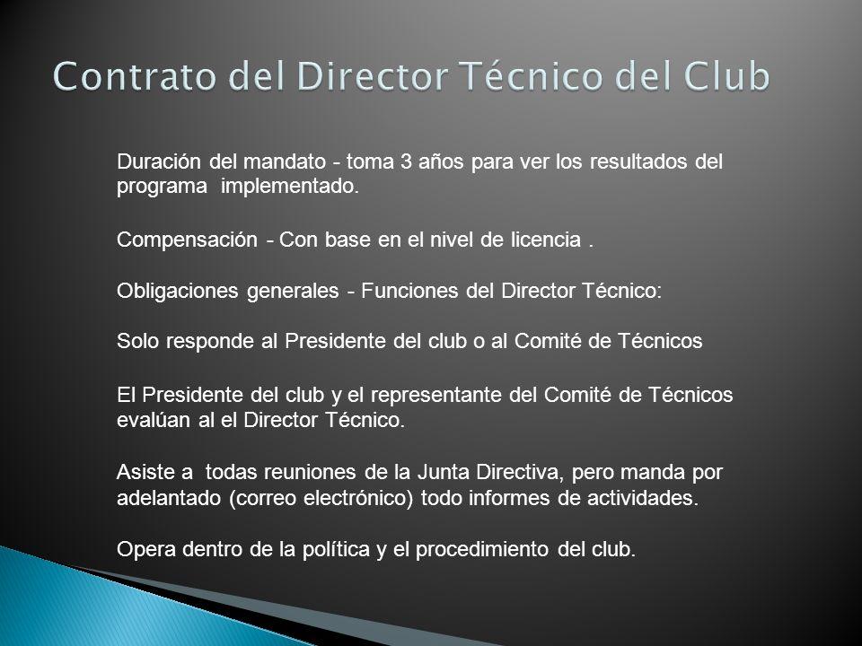 Contrato del Director Técnico del Club